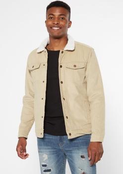 khaki sherpa lined corduroy trucker jacket - Main Image