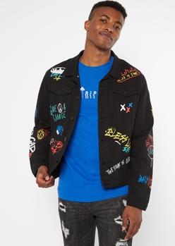 black karma doodle jean jacket - Main Image