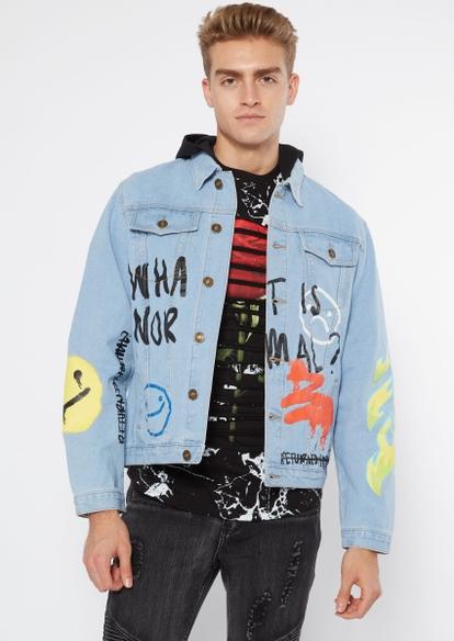 light wash flame graffiti doodle jean jacket - Main Image