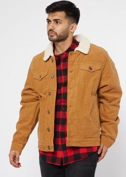 cognac corduroy sherpa trucker jacket - Main Image