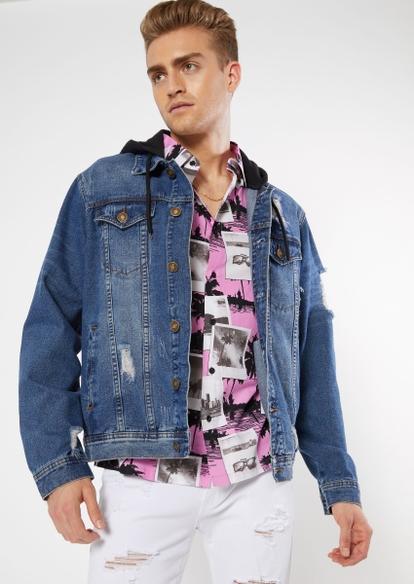 medium wash destructed fleece hood jean jacket - Main Image