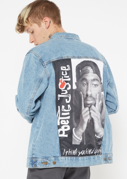 light wash poetic justice graphic jean jacket - Main Image
