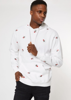 white allover rose embroidered hoodie - Main Image