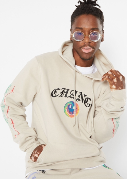 taupe smiley face changes embroidered hoodie - Main Image