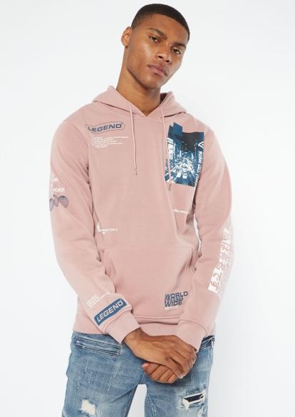 pink legend print hoodie - Main Image
