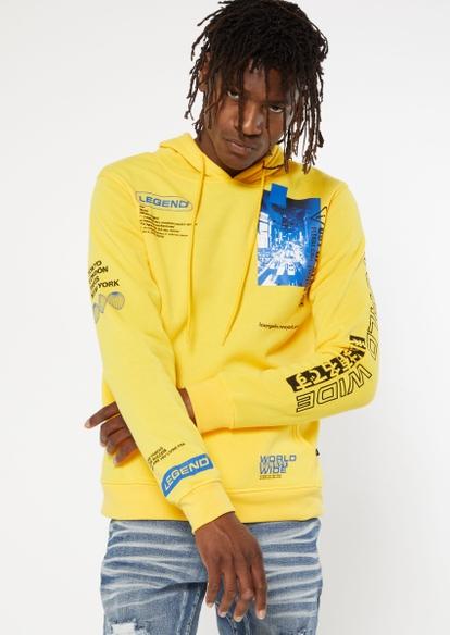 yellow legend worldwide graphic hoodie - Main Image