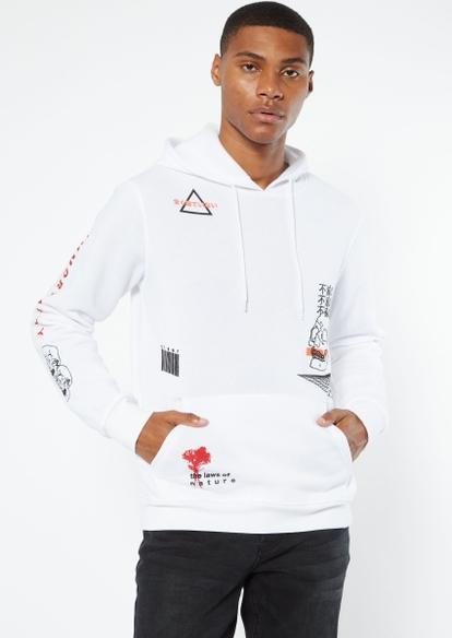 white kanji skull print hoodie - Main Image