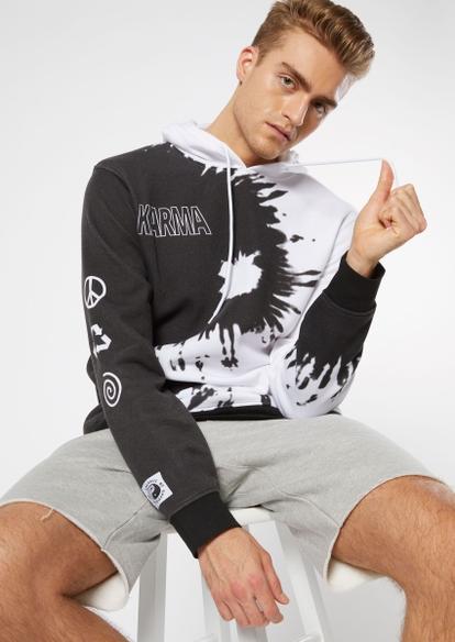 yin yang print karma graphic hoodie - Main Image