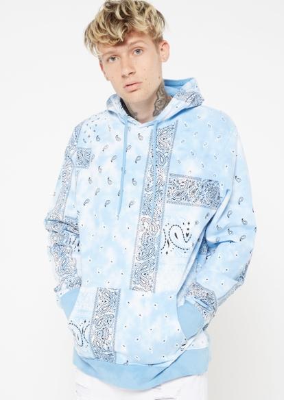 blue tie dye bandana print hoodie - Main Image