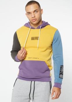 mustard nature territory colorblock hoodie - Main Image