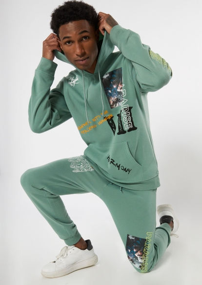 sage green lost paradise graphic hoodie - Main Image