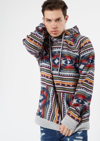 gray southwest print cozy sherpa hoodie - Main Image