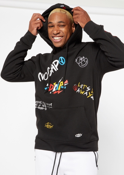 black doodle graffiti graphic embroidered hoodie - Main Image