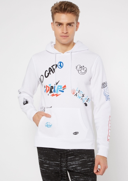 white doodle graffiti graphic hoodie - Main Image