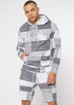 gray bandana print hoodie - Main Image