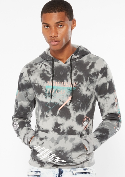 gray tie dye nowhere to go graphic hoodie - Main Image