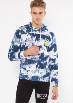 blue tie dye have a nice day embroidered hoodie - Main Image