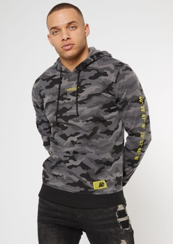 black camo print hidden embroidered hoodie - Main Image