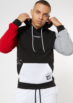 black colorblock hidden embroidered hoodie - Main Image