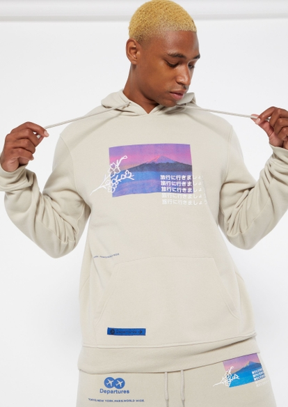 taupe cherry blossom landscape graphic hoodie - Main Image