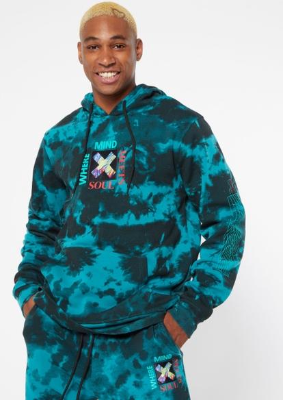 teal tie dye soul mind embroidered hoodie - Main Image