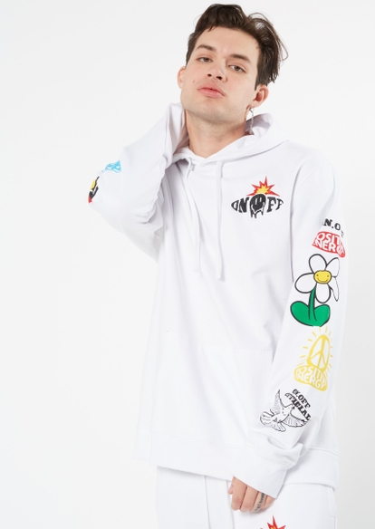 white smiley doodle print graphic hoodie - Main Image