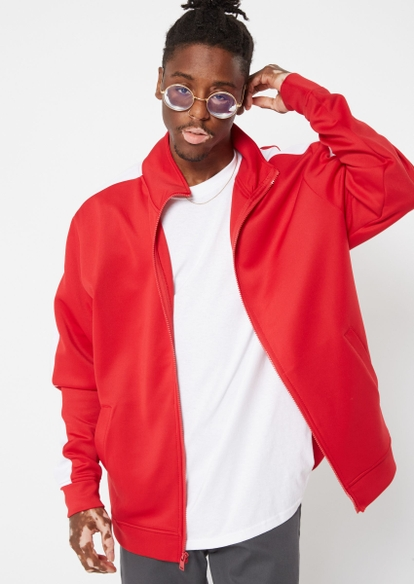 red zip up track jacket - Main Image