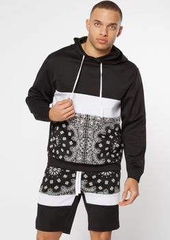 black bandana print track hoodie - Main Image