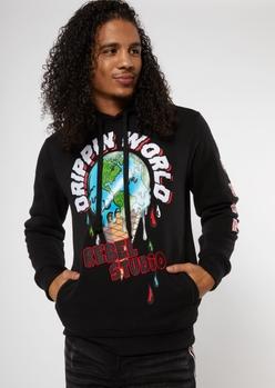 black dripping world rebel studio graphic hoodie - Main Image