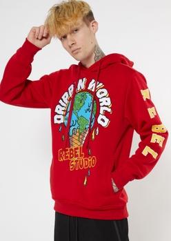 red drippin world hoodie - Main Image