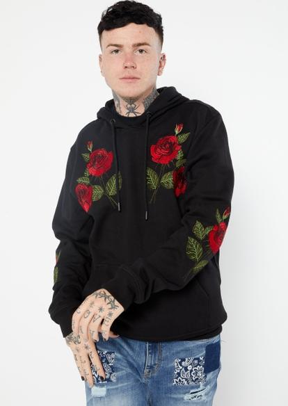 black rose embroidered hoodie - Main Image