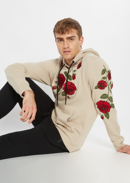 beige rose embroidered hoodie - Main Image