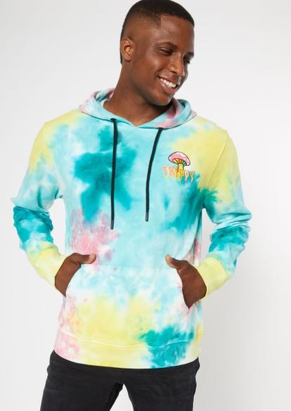 tie dye trippy mushroom embroidered hoodie - Main Image