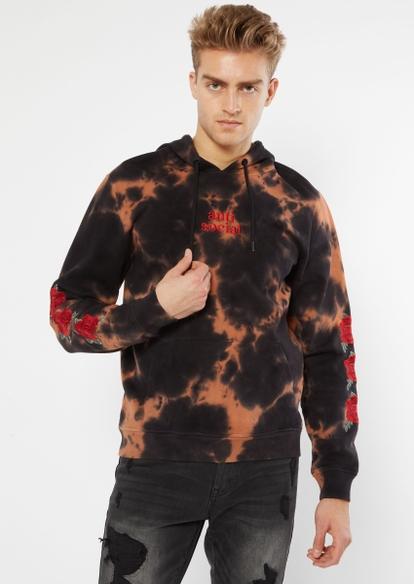 black bleach tie dye anti social embroidered hoodie - Main Image