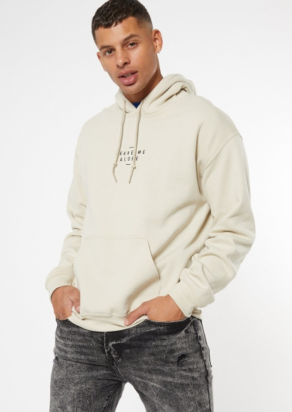 taupe leave me alone embroidery hoodie - Main Image