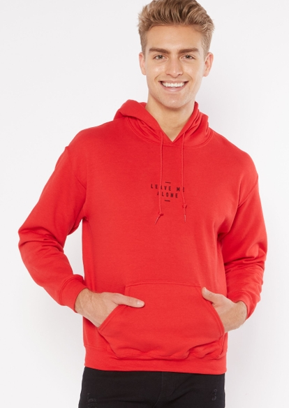 red leave me alone embroidered hoodie - Main Image