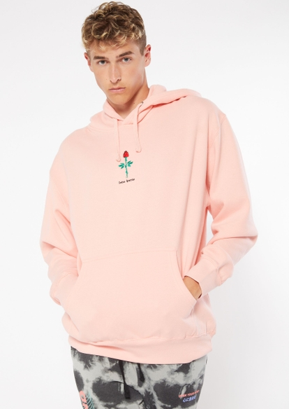 pink love hurts embroidered hoodie - Main Image