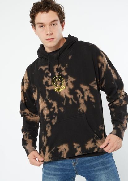 black bleach trippy emblem hoodie - Main Image