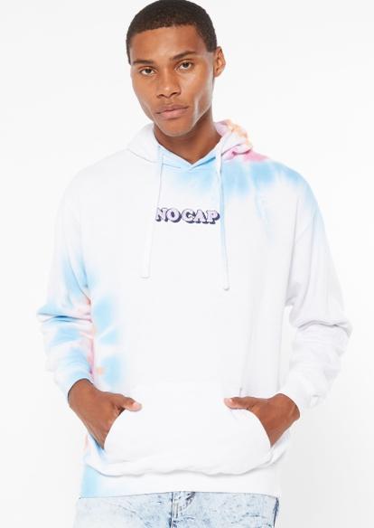 pastel tie dye no cap embroidered hoodie - Main Image