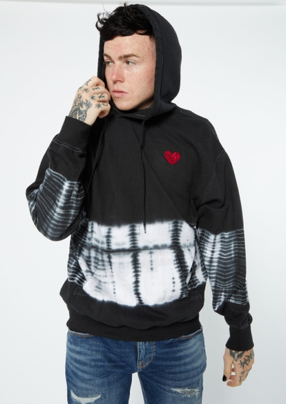 black tie dye shattered heart embroidered hoodie - Main Image