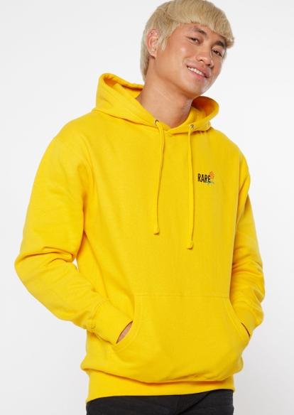 yellow rare rose embroidered hoodie - Main Image