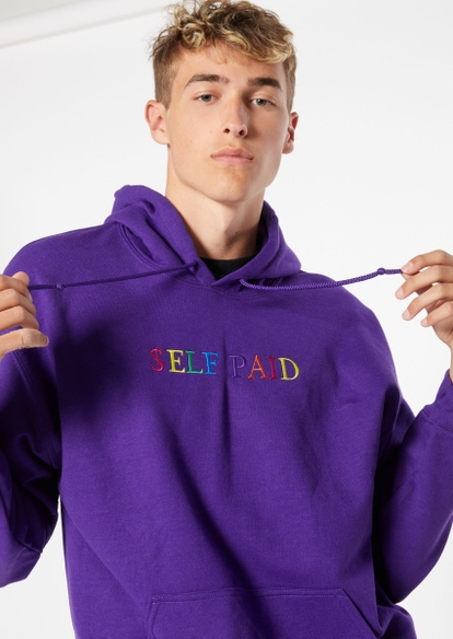 purple self paid embroidered hoodie - Main Image