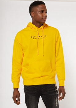 yellow bad habits good friends embroidered hoodie - Main Image