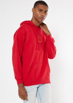 red melted smiley embroidered hoodie - Main Image