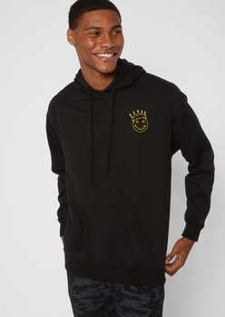 black smiley crown embroidered hoodie - Main Image