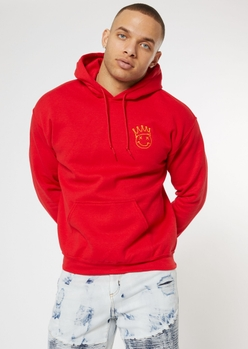 red smiley crown embroidered hoodie - Main Image
