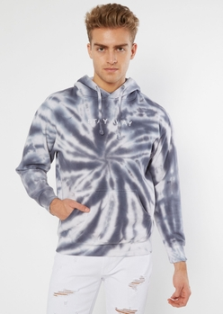 gray tie dye stay away embroidered hoodie - Main Image