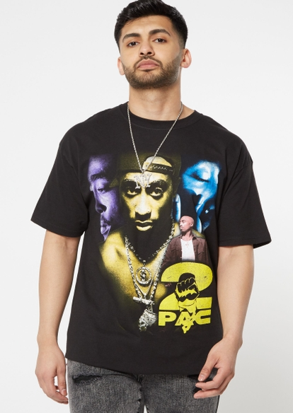 black multicolor tupac photography graphic tee - Main Image