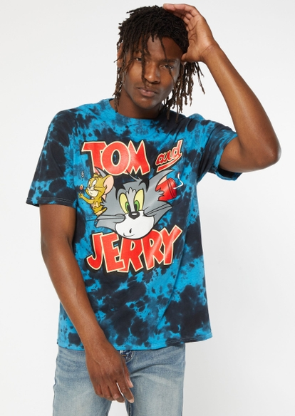 blue tie dye tom and jerry dynamite graphic tee - Main Image