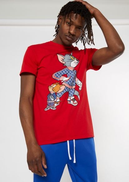 red tom and jerry tracksuit graphic tee - Main Image